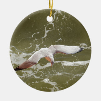 Seagull Gliding Over The Waves Christmas Ornament