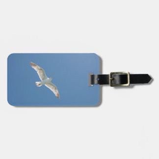 Seagull in a blue sky luggage tag