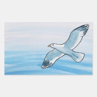 Seagull in Flight Rectangular Sticker