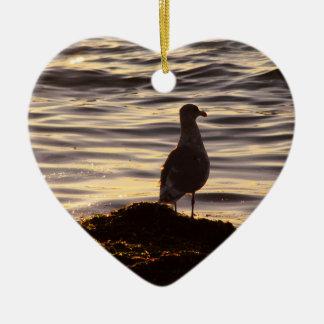 Seagull In Sunlight Ceramic Heart Decoration