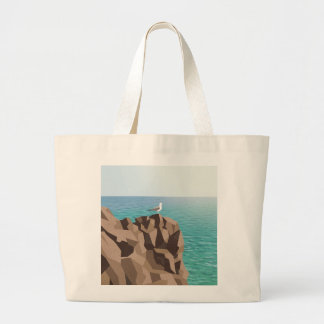 Seagull looking out to sea large tote bag