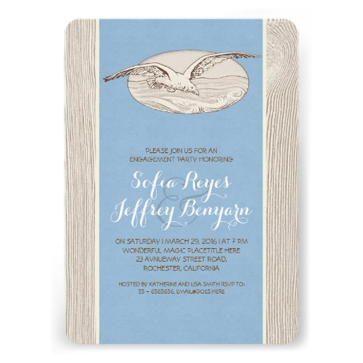 Seagull nautical beach engagement party invitation