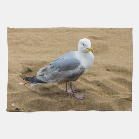 Seagull on a beach kitchen towel