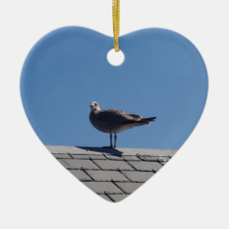 Seagull On A Slate Roof Ceramic Heart Decoration