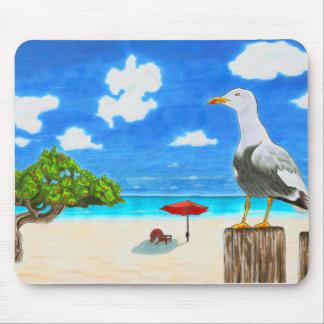 Seagull on a sunny beach under blue sky mouse pad