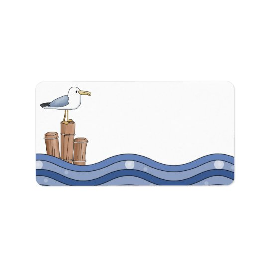 Seagull on Piling Label