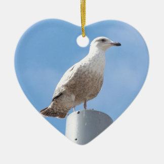 Seagull on pole ceramic heart decoration