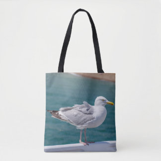Seagull on railings all-over-print tote bag