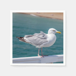 Seagull on railings paper napkin