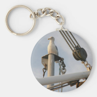 Seagull on the Rigging of a Boat Basic Round Button Key Ring