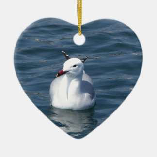 Seagull on the water ceramic heart decoration