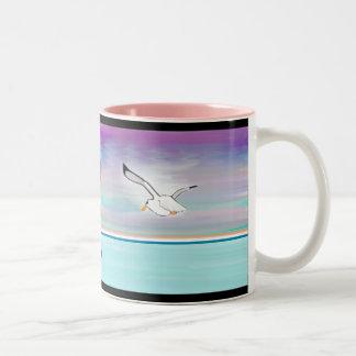 Seagull Over the Sea Two-Tone Coffee Mug
