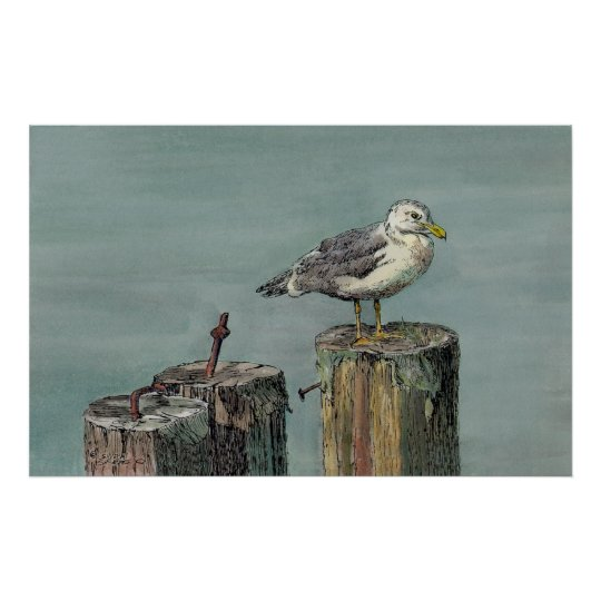 SEAGULL & PILINGS by SHARON SHARPE Poster