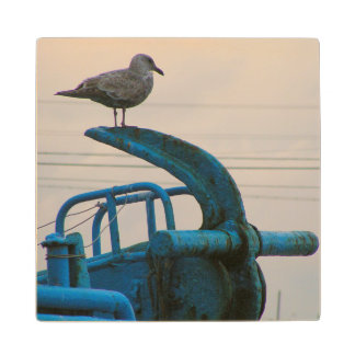 Seagull Rests On Anchor Of Ship | Choshi Wood Coaster