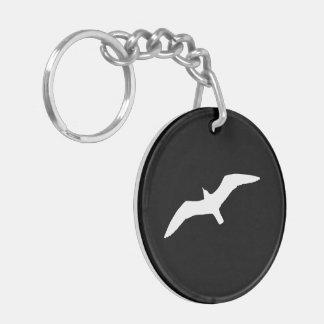 Seagull Shape Double-Sided Round Acrylic Key Ring