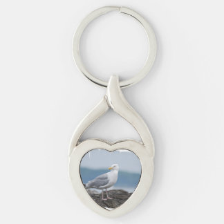 Seagull Silver-Colored Twisted Heart Key Ring