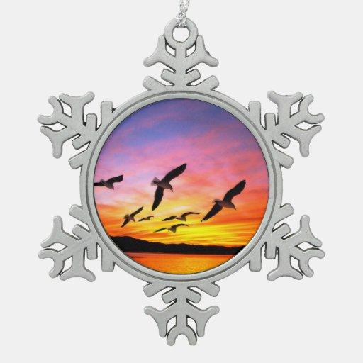 Seagull Sunset - Flying Gulls at Sunset Ornament