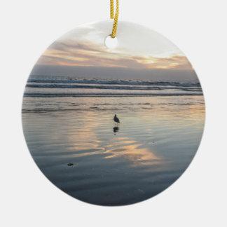 Seagull Sunset - Round Ceramic Decoration