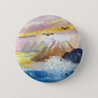 Seagull View by KatGibsonArt.JPG 6 Cm Round Badge