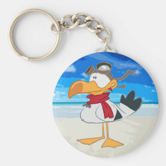 SEAGULL WITH PILOT GOGGLES BASIC ROUND BUTTON KEY RING