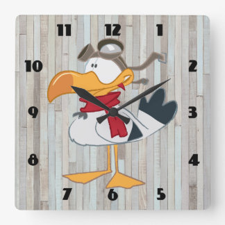 SEAGULL WITH PILOT GOGGLES SQUARE WALL CLOCK