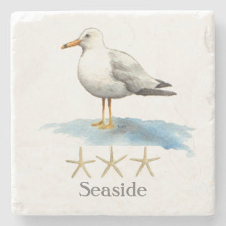 Seagull with Starfish Watercolor Stone Coaster