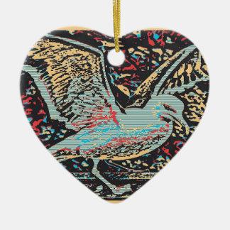 Seagull Woodcut Ceramic Heart Decoration
