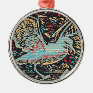 Seagull Woodcut Silver-Colored Round Decoration