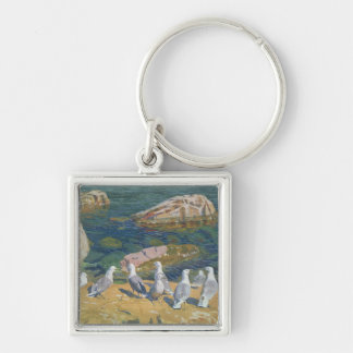 Seagulls, 1910 Silver-Colored square key ring