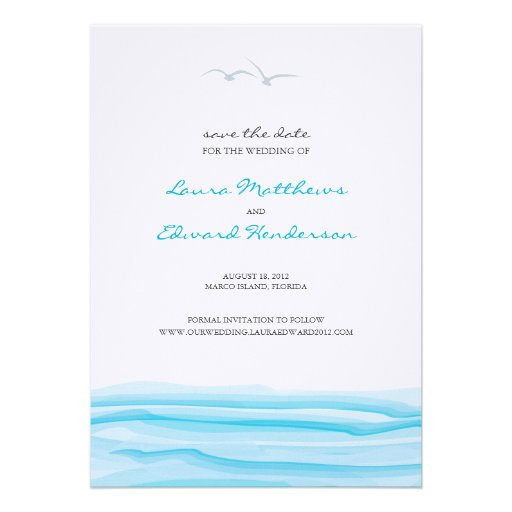Seagulls and Ocean Save the Date Custom Invitation