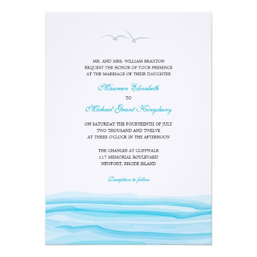 Seagulls and Ocean Wedding Invitations