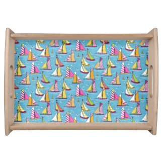 seagulls and sails springtime serving tray