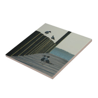 Seagulls and Sunset on The Docks Tile