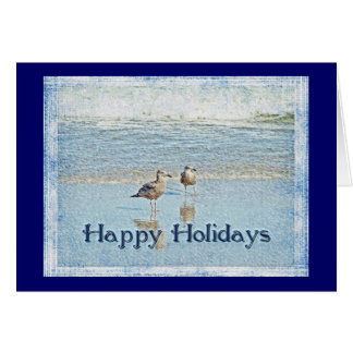 Seagulls and Waves Happy Holidays Greeting Card