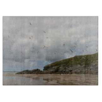 Seagulls at Porth Beach Newquay Cornwall Cutting Board