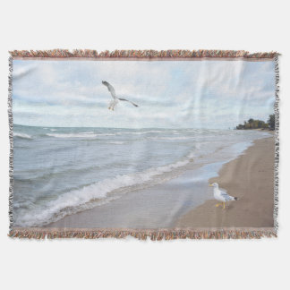 Seagulls at the Beach Throw Blanket