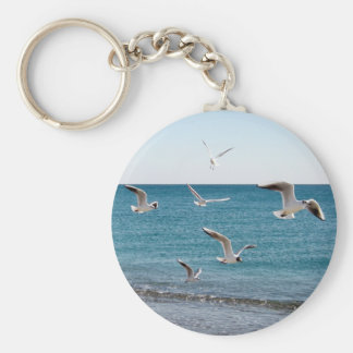 Seagulls Basic Round Button Key Ring