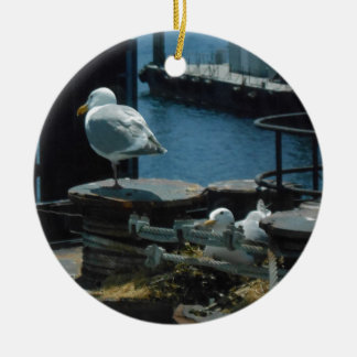 Seagulls Double-Sided Ceramic Round Christmas Ornament