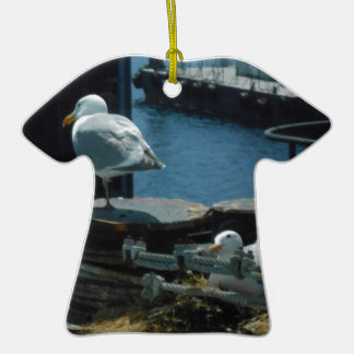 Seagulls Double-Sided T-Shirt Ceramic Christmas Ornament