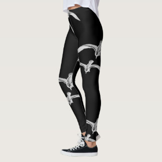 Seagulls Flying Black White Leggings