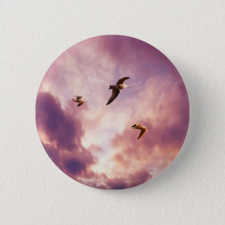 Seagulls flying in a sunset sky 6 cm round badge