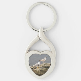 Seagulls Heart Keychain Silver-Colored Twisted Heart Key Ring