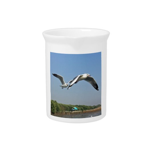 Seagulls in Flight Pitcher