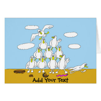 Seagulls In Formation Cartoon Greeting Card
