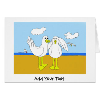 Seagulls In Love Cartoon Greeting Card