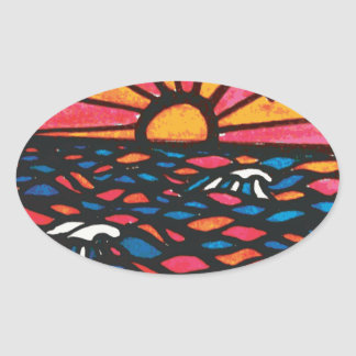 Seagulls in the Sunset Seascape Oval Sticker