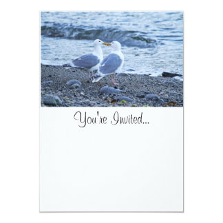 Seagulls Kissing on the Beach Photo 13 Cm X 18 Cm Invitation Card