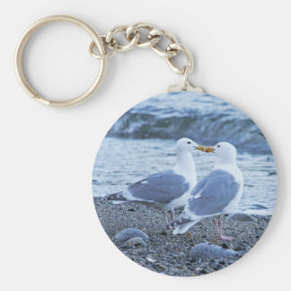 Seagulls Kissing on the Beach Photo Basic Round Button Key Ring