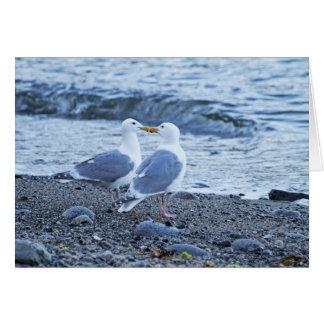 Seagulls Kissing on the Beach Photo Card