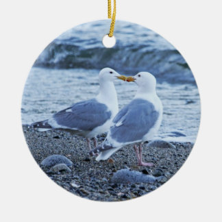 Seagulls Kissing on the Beach Photo Christmas Ornament